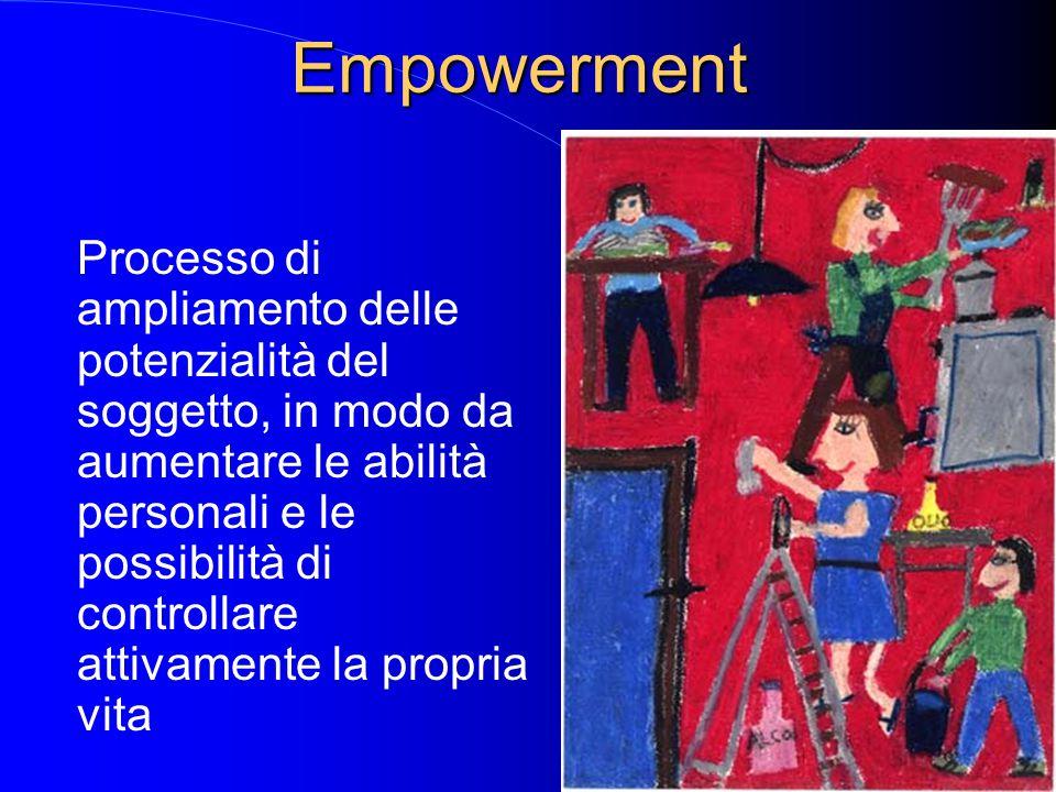 Empowerment Processo di ampliamento delle potenzialità del soggetto, in modo da aumentare le abilità personali e le possibilità di controllare attivam