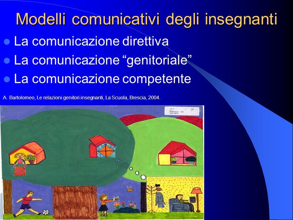 """Modelli comunicativi degli insegnanti La comunicazione direttiva La comunicazione """"genitoriale"""" La comunicazione competente A. Bartolomeo, Le relazion"""