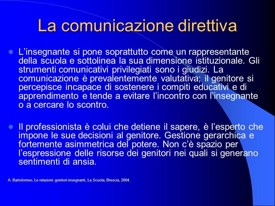 La comunicazione direttiva L'insegnante si pone soprattutto come un rappresentante della scuola e sottolinea la sua dimensione istituzionale. Gli stru