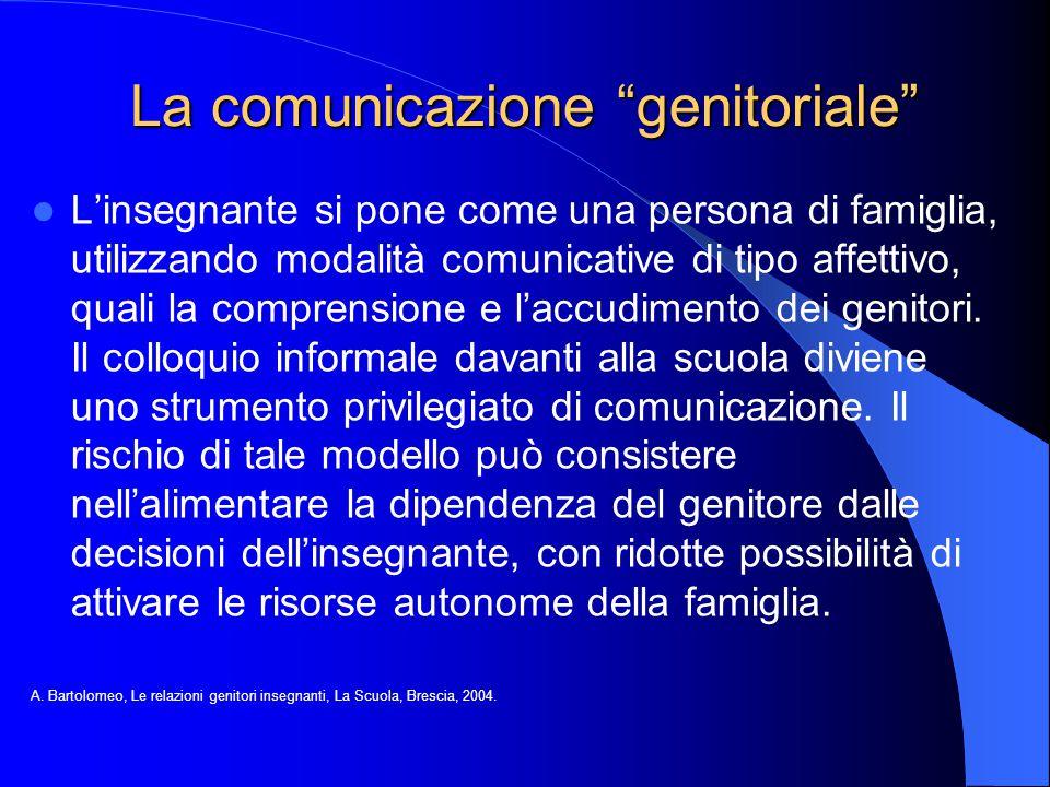 """La comunicazione """"genitoriale"""" L'insegnante si pone come una persona di famiglia, utilizzando modalità comunicative di tipo affettivo, quali la compre"""