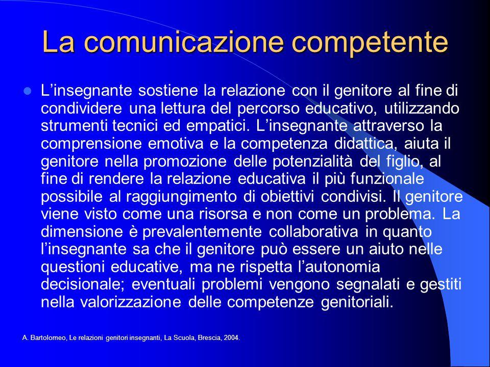 La comunicazione competente L'insegnante sostiene la relazione con il genitore al fine di condividere una lettura del percorso educativo, utilizzando