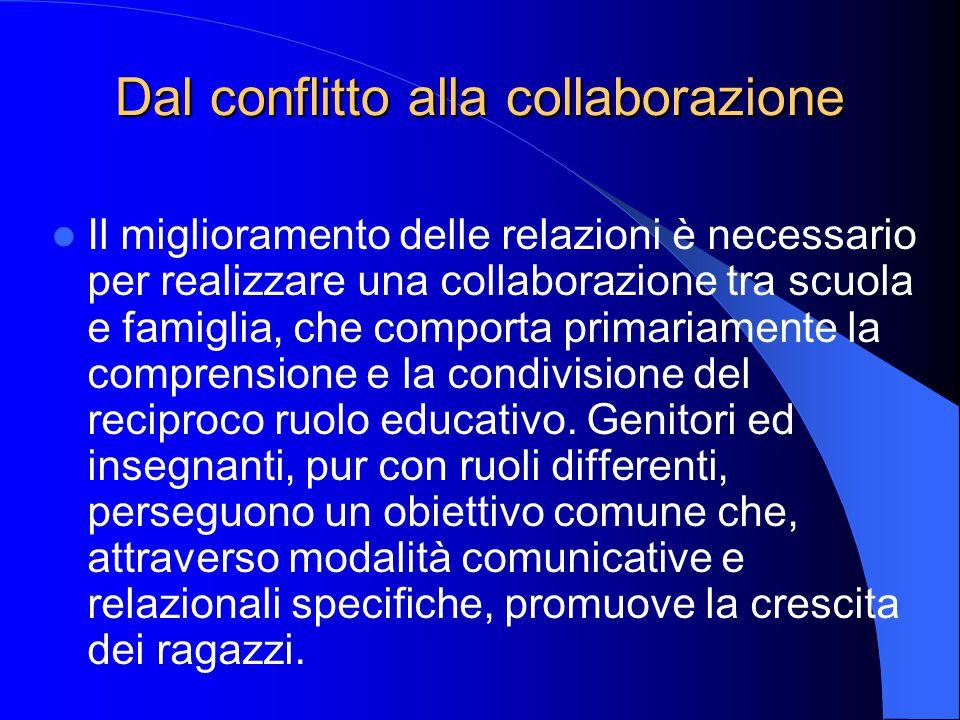 Dal conflitto alla collaborazione Il miglioramento delle relazioni è necessario per realizzare una collaborazione tra scuola e famiglia, che comporta