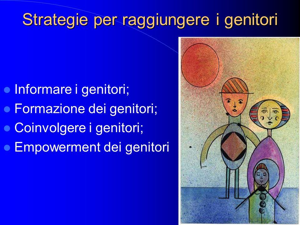 Strategie per raggiungere i genitori Informare i genitori; Formazione dei genitori; Coinvolgere i genitori; Empowerment dei genitori