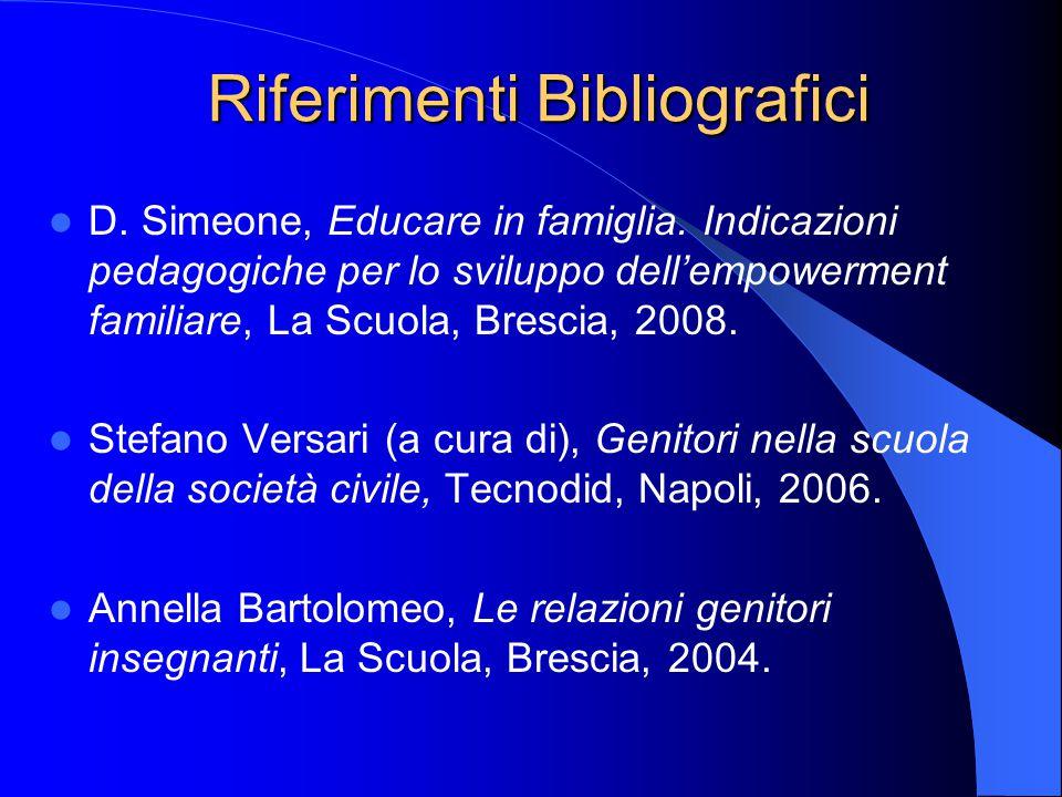 Riferimenti Bibliografici D. Simeone, Educare in famiglia. Indicazioni pedagogiche per lo sviluppo dell'empowerment familiare, La Scuola, Brescia, 200
