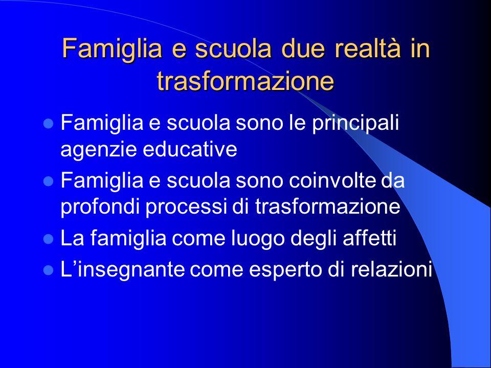 Famiglia e scuola due realtà in trasformazione Famiglia e scuola sono le principali agenzie educative Famiglia e scuola sono coinvolte da profondi pro