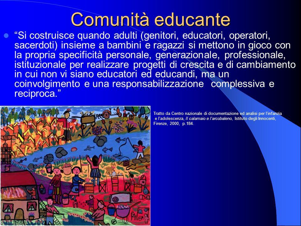 """Comunità educante """"Si costruisce quando adulti (genitori, educatori, operatori, sacerdoti) insieme a bambini e ragazzi si mettono in gioco con la prop"""