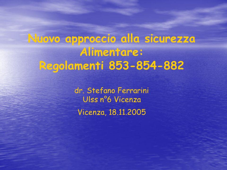 Nuovo approccio alla sicurezza Alimentare: Regolamenti 853-854-882 dr. Stefano Ferrarini Ulss n°6 Vicenza Vicenza, 18.11.2005