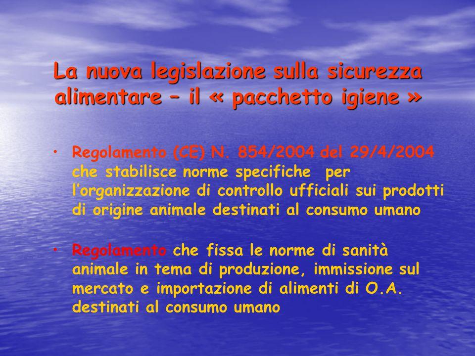La nuova legislazione sulla sicurezza alimentare – il « pacchetto igiene » Regolamento (CE) N. 854/2004 del 29/4/2004 che stabilisce norme specifiche