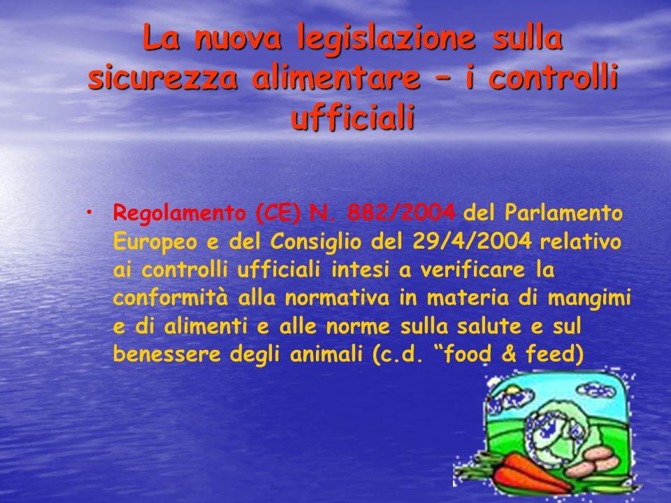 La nuova legislazione sulla sicurezza alimentare – i controlli ufficiali Regolamento (CE) N. 882/2004 del Parlamento Europeo e del Consiglio del 29/4/