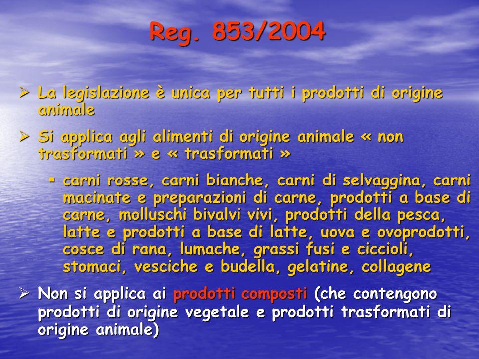  La legislazione è unica per tutti i prodotti di origine animale  Si applica agli alimenti di origine animale « non trasformati » e « trasformati »
