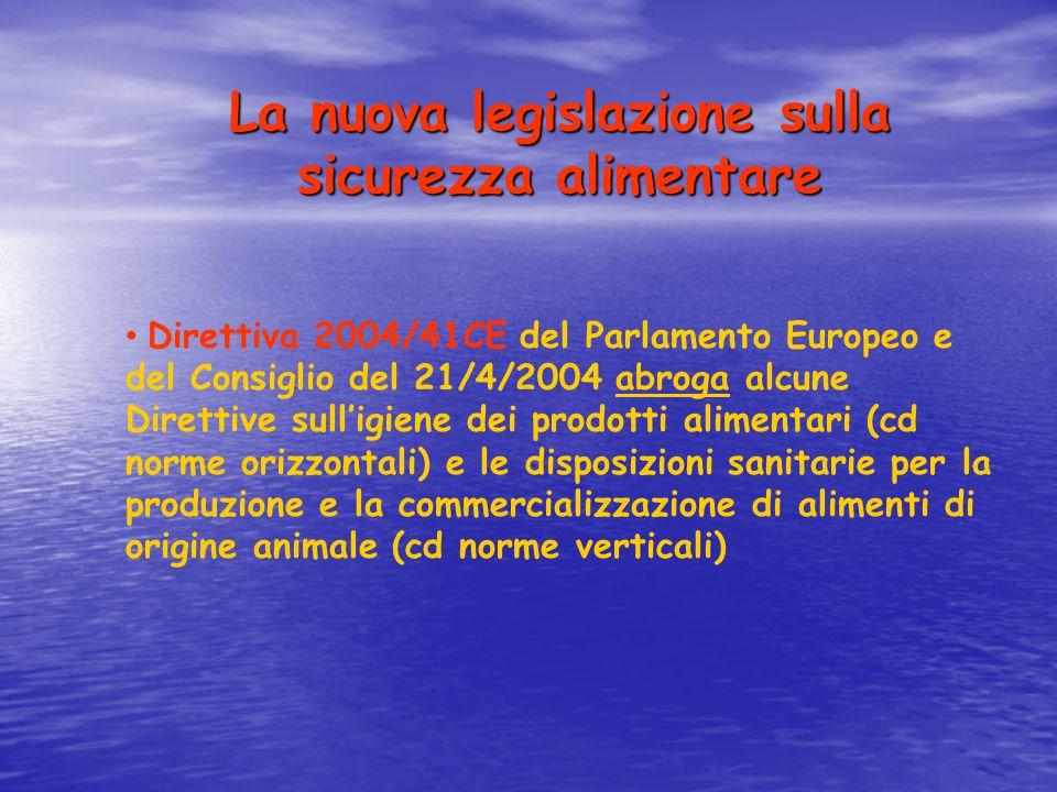 La nuova legislazione sulla sicurezza alimentare Direttiva 2004/41CE del Parlamento Europeo e del Consiglio del 21/4/2004 abroga alcune Direttive sull