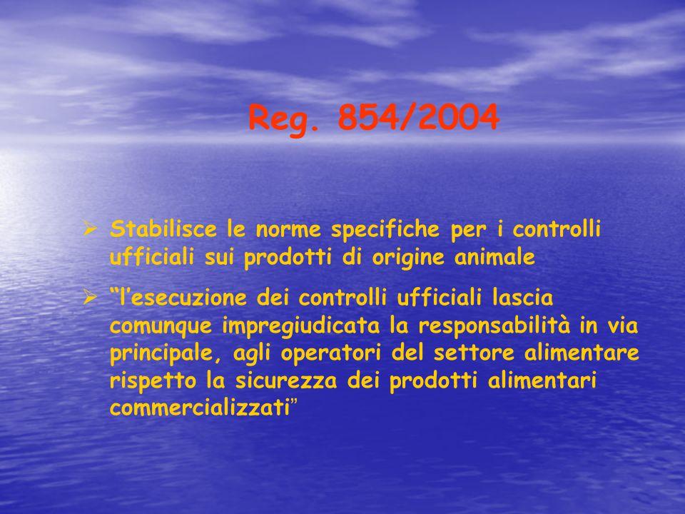 """Reg. 854/2004  Stabilisce le norme specifiche per i controlli ufficiali sui prodotti di origine animale  """"l'esecuzione dei controlli ufficiali lasci"""