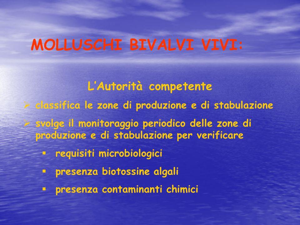 MOLLUSCHI BIVALVI VIVI: L'Autorità competente  classifica le zone di produzione e di stabulazione  svolge il monitoraggio periodico delle zone di pr
