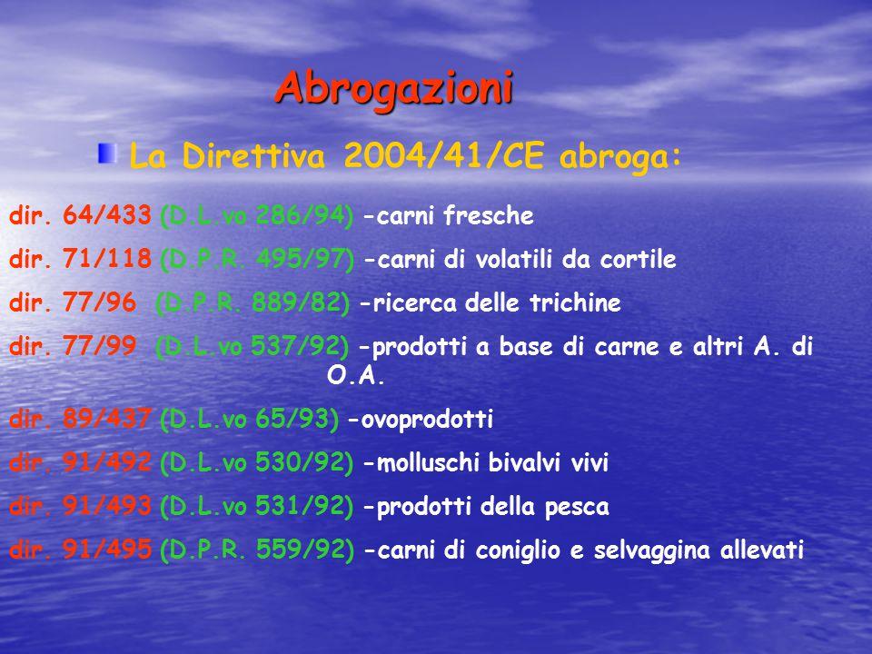 Abrogazioni La Direttiva 2004/41/CE abroga: dir. 64/433 (D.L.vo 286/94) -carni fresche dir. 71/118 (D.P.R. 495/97) -carni di volatili da cortile dir.