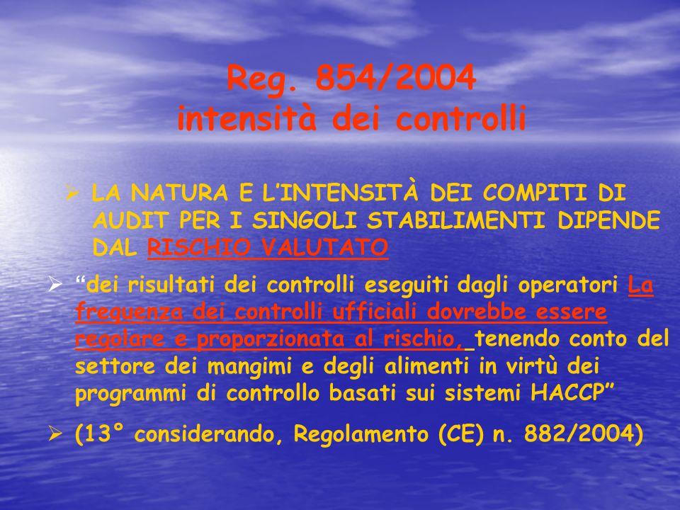 """Reg. 854/2004 intensità dei controlli  LA NATURA E L'INTENSITÀ DEI COMPITI DI AUDIT PER I SINGOLI STABILIMENTI DIPENDE DAL RISCHIO VALUTATO  """" dei r"""