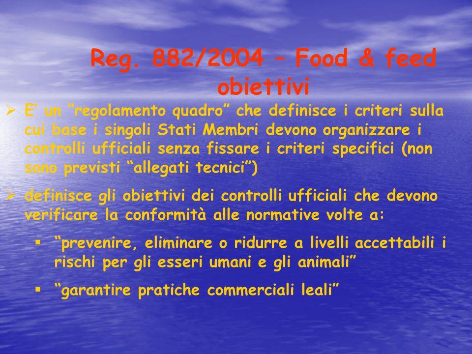 """Reg. 882/2004 – Food & feed obiettivi  E' un """"regolamento quadro"""" che definisce i criteri sulla cui base i singoli Stati Membri devono organizzare i"""