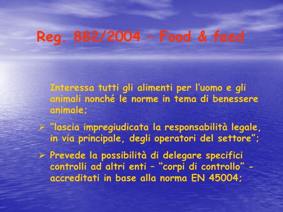"""Reg. 882/2004 – Food & feed Interessa tutti gli alimenti per l'uomo e gli animali nonché le norme in tema di benessere animale;  """"lascia impregiudica"""