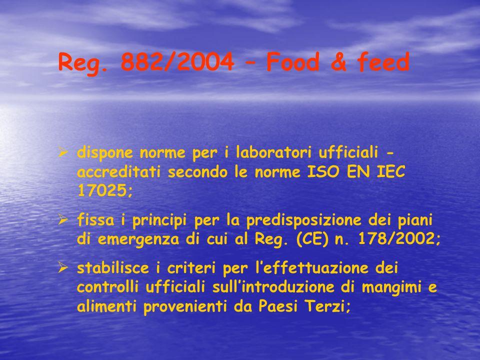 Reg. 882/2004 – Food & feed  dispone norme per i laboratori ufficiali - accreditati secondo le norme ISO EN IEC 17025;  fissa i principi per la pred