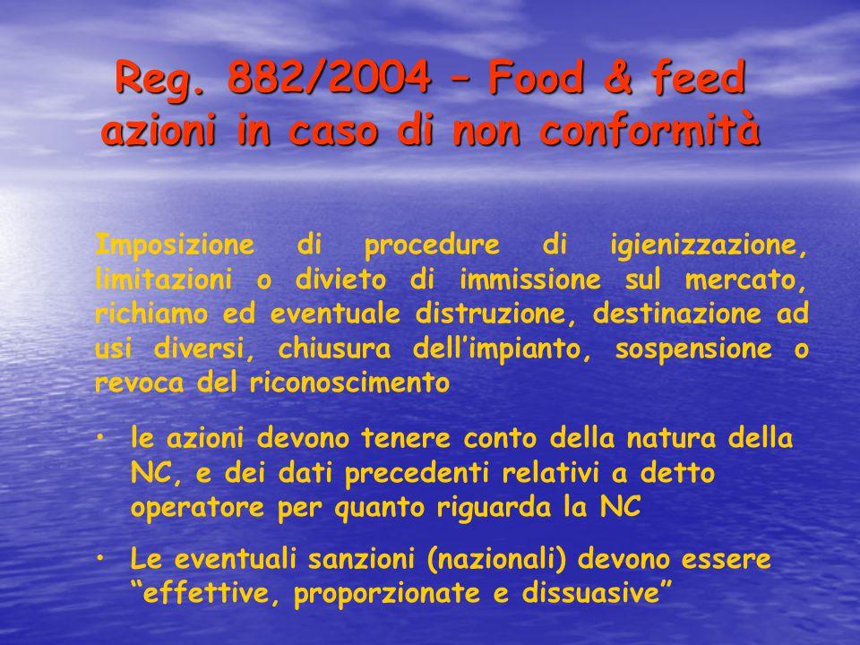 Reg. 882/2004 – Food & feed azioni in caso di non conformità le azioni devono tenere conto della natura della NC, e dei dati precedenti relativi a det