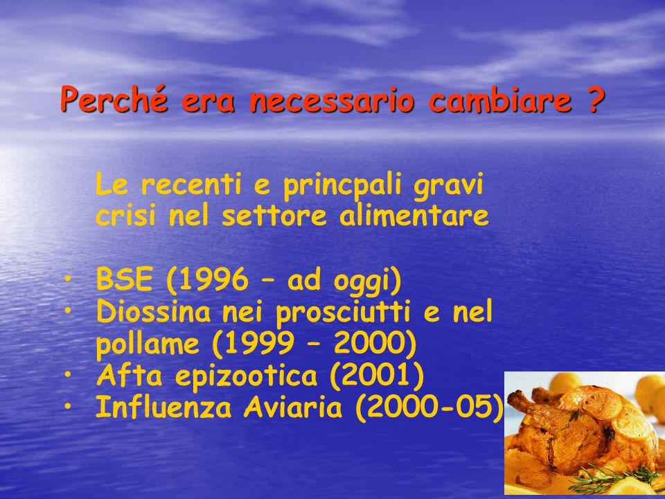 Perché era necessario cambiare ? Le recenti e princpali gravi crisi nel settore alimentare BSE (1996 – ad oggi) Diossina nei prosciutti e nel pollame