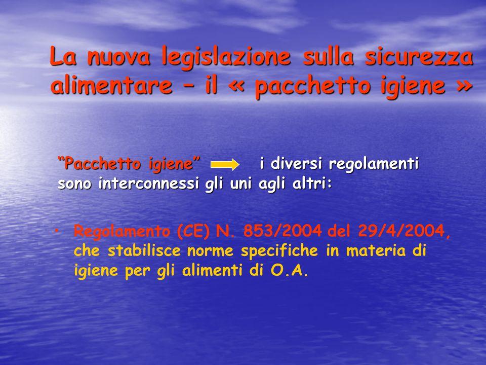 La nuova legislazione sulla sicurezza alimentare – il « pacchetto igiene » Regolamento (CE) N. 853/2004 del 29/4/2004, che stabilisce norme specifiche