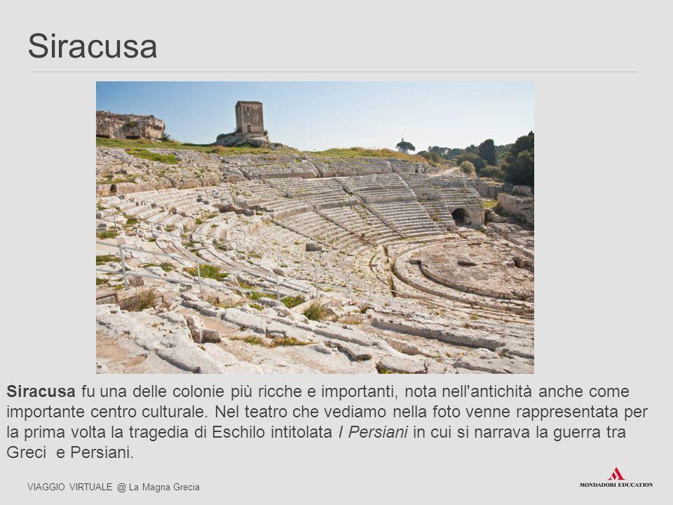 Siracusa fu una delle colonie più ricche e importanti, nota nell'antichità anche come importante centro culturale. Nel teatro che vediamo nella foto v