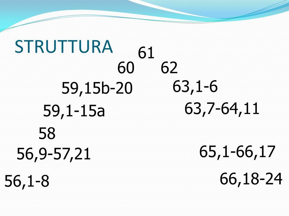 STRUTTURA 61 6062 59,15b-20 63,1-6 59,1-15a 63,7-64,11 58 56,9-57,21 65,1-66,17 56,1-8 66,18-24