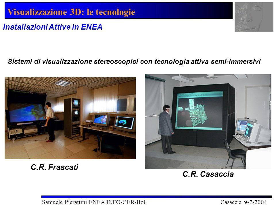 Visualizzazione 3D: le tecnologie Samuele Pierattini ENEA INFO-GER-Bol Casaccia 9-7-2004 Installazioni Attive in ENEA C.R.