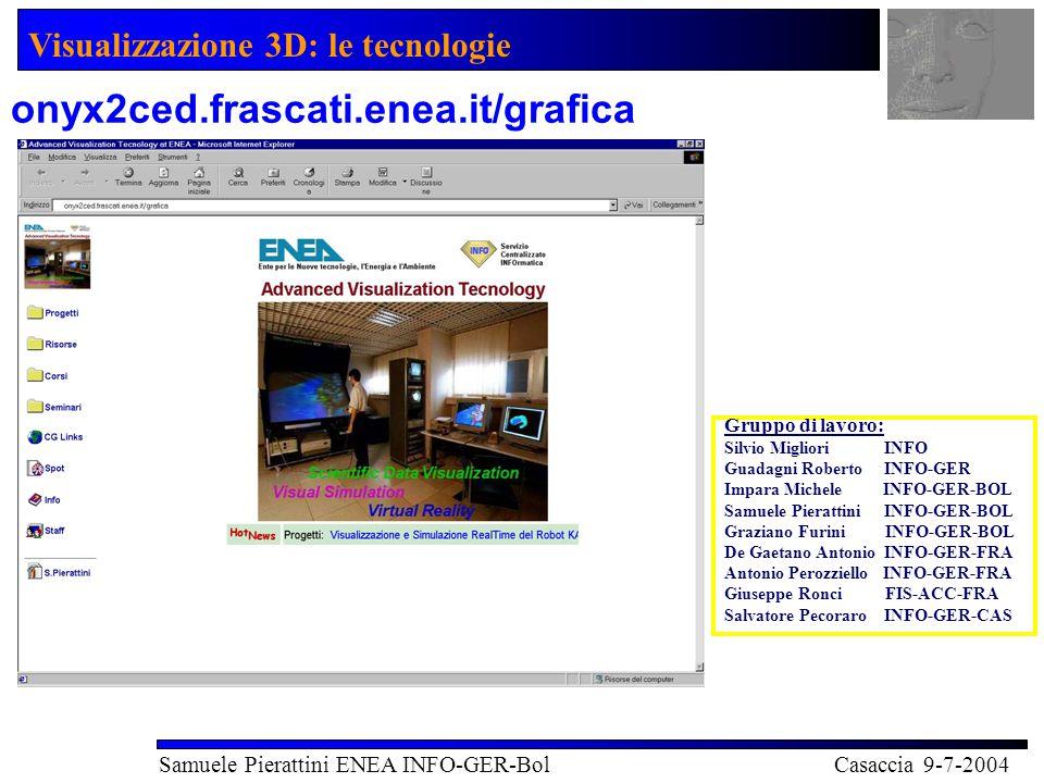 Visualizzazione 3D: le tecnologie Samuele Pierattini ENEA INFO-GER-Bol Casaccia 9-7-2004 onyx2ced.frascati.enea.it/grafica Gruppo di lavoro: Silvio Migliori INFO Guadagni Roberto INFO-GER Impara Michele INFO-GER-BOL Samuele Pierattini INFO-GER-BOL Graziano Furini INFO-GER-BOL De Gaetano Antonio INFO-GER-FRA Antonio Perozziello INFO-GER-FRA Giuseppe Ronci FIS-ACC-FRA Salvatore Pecoraro INFO-GER-CAS