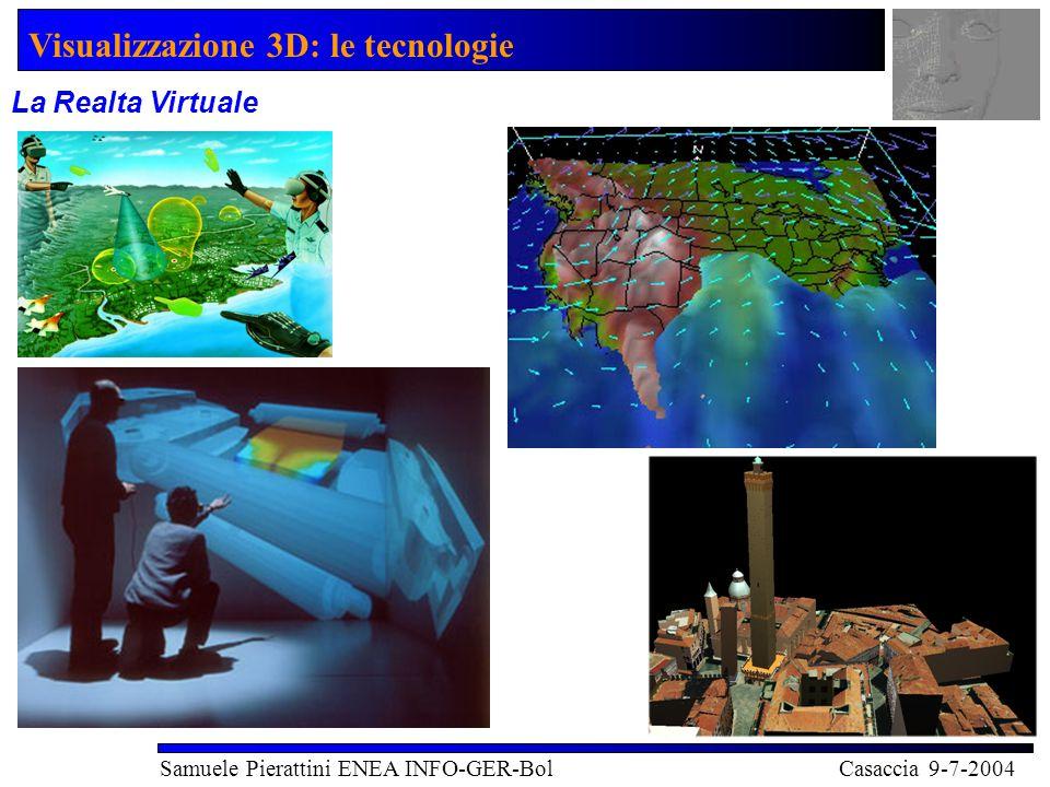 Visualizzazione 3D: le tecnologie Samuele Pierattini ENEA INFO-GER-Bol Casaccia 9-7-2004 La Realta Virtuale