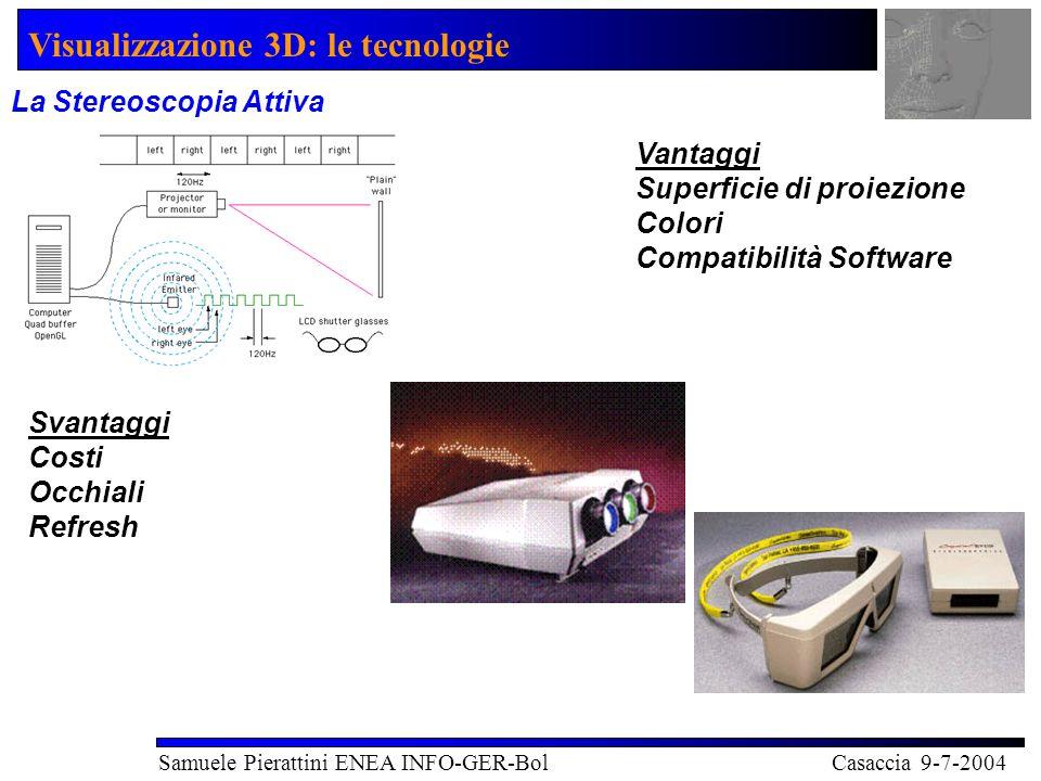Visualizzazione 3D: le tecnologie Samuele Pierattini ENEA INFO-GER-Bol Casaccia 9-7-2004 La Stereoscopia Attiva Vantaggi Superficie di proiezione Colori Compatibilità Software Svantaggi Costi Occhiali Refresh