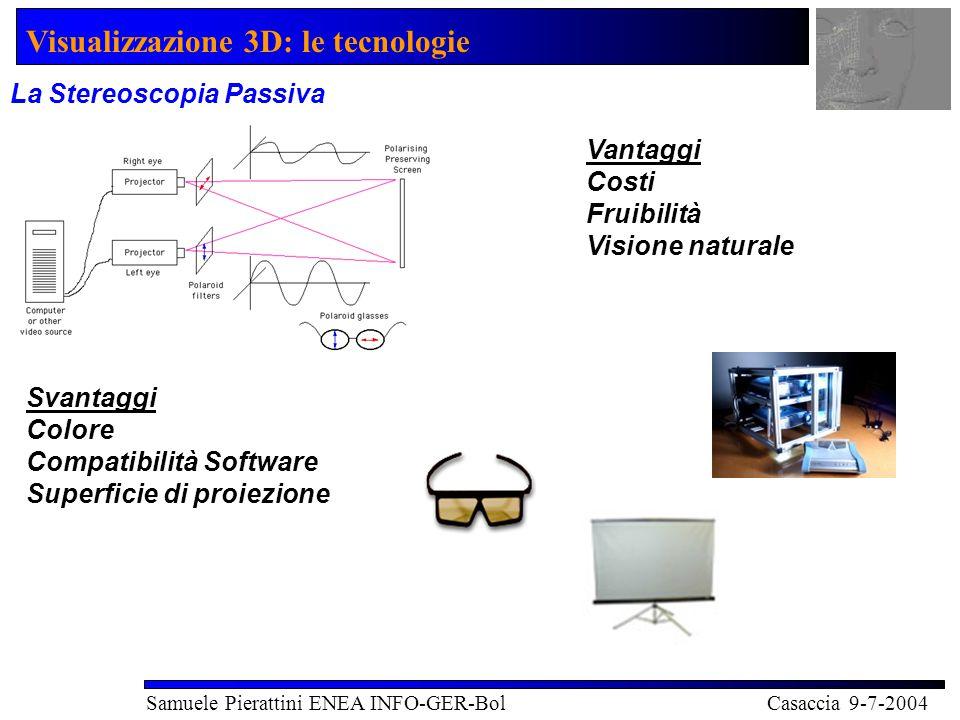 Visualizzazione 3D: le tecnologie Samuele Pierattini ENEA INFO-GER-Bol Casaccia 9-7-2004 Display Autostereoscopici e Olografia