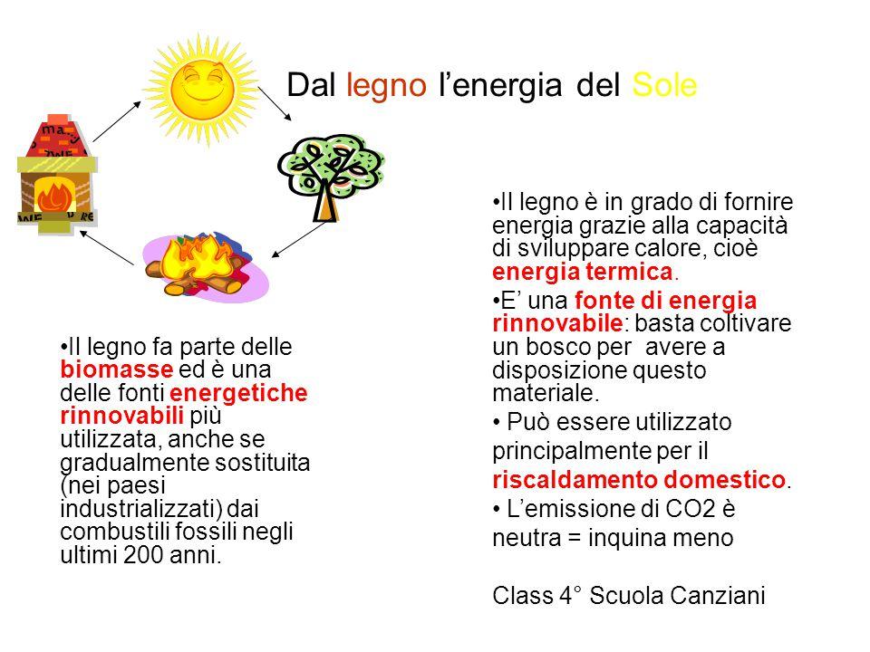 Dal legno l'energia del Sole Il legno fa parte delle biomasse ed è una delle fonti energetiche rinnovabili più utilizzata, anche se gradualmente sostituita (nei paesi industrializzati) dai combustili fossili negli ultimi 200 anni.