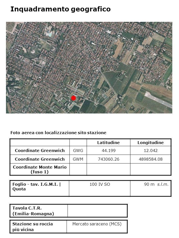 Foto aerea con localizzazione sito stazione LatitudineLongitudine Coordinate GreenwichGWG44.19912.042 Coordinate GreenwichGWM743060.264898584.08 Coordinate Monte Mario (fuso 1) Foglio - tav.
