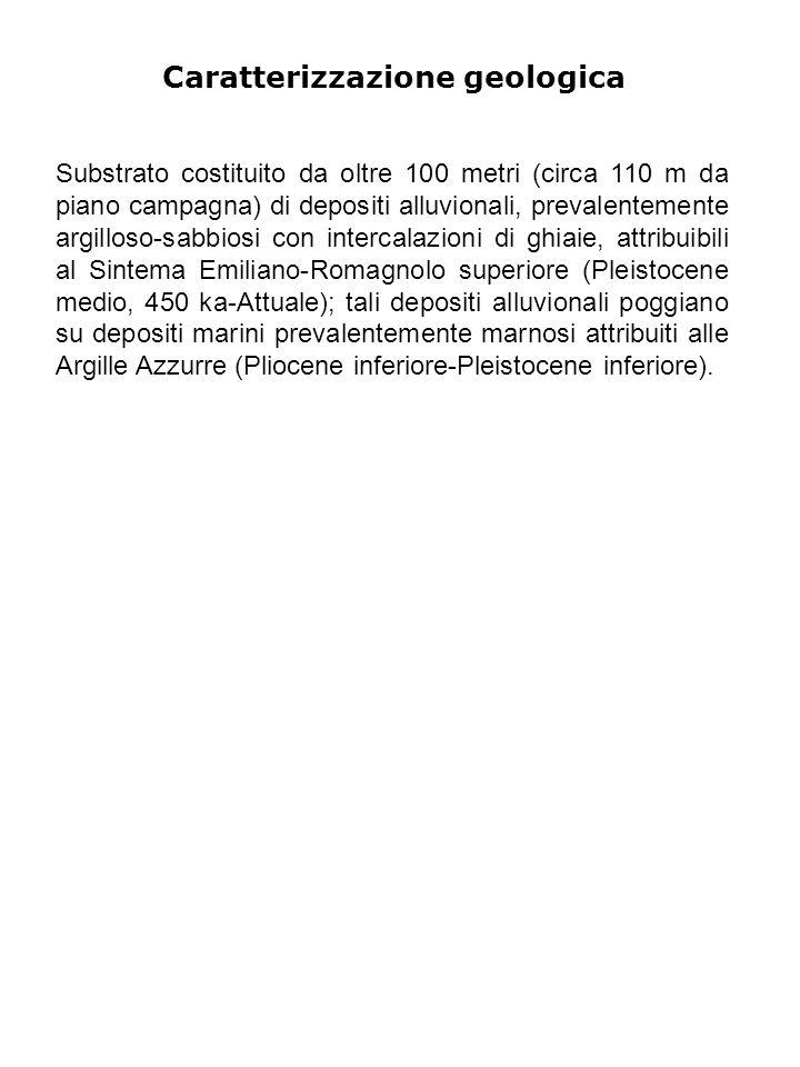 Caratterizzazione geologica Substrato costituito da oltre 100 metri (circa 110 m da piano campagna) di depositi alluvionali, prevalentemente argilloso-sabbiosi con intercalazioni di ghiaie, attribuibili al Sintema Emiliano-Romagnolo superiore (Pleistocene medio, 450 ka-Attuale); tali depositi alluvionali poggiano su depositi marini prevalentemente marnosi attribuiti alle Argille Azzurre (Pliocene inferiore-Pleistocene inferiore).