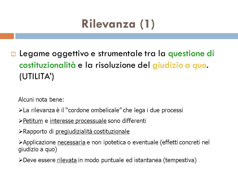 Rilevanza (1)  Legame oggettivo e strumentale tra la questione di costituzionalità e la risoluzione del giudizio a quo.
