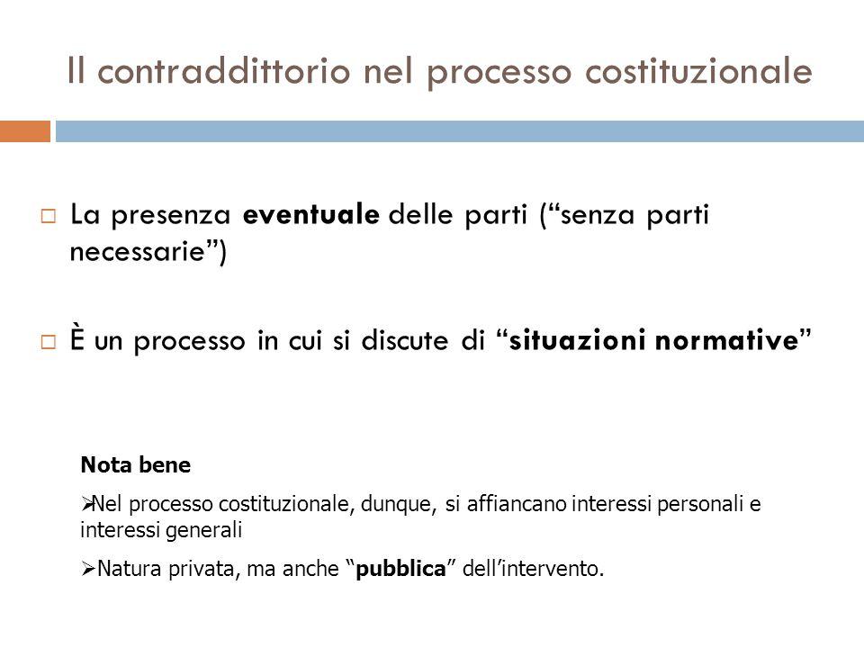 """Il contraddittorio nel processo costituzionale  La presenza eventuale delle parti (""""senza parti necessarie"""")  È un processo in cui si discute di """"si"""