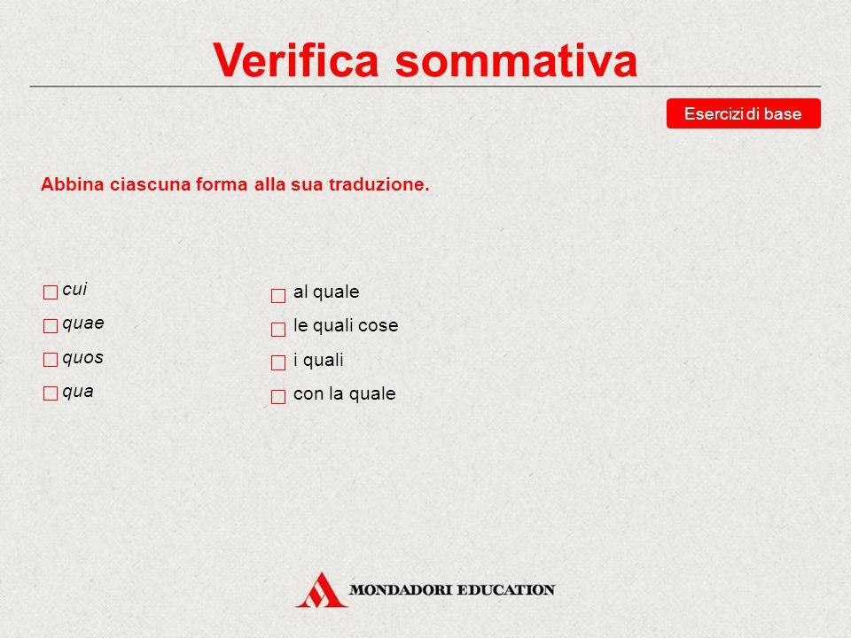 Verifica sommativa Esercizi di base Scegli la traduzione corretta della forma cuius.