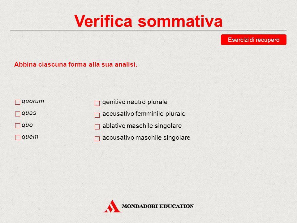 Verifica sommativa Esercizi di recupero Scegli le traduzioni corrette della forma quae.
