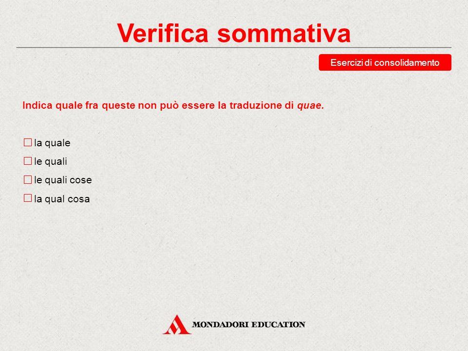 Verifica sommativa Scegli le traduzioni corrette della forma cui.