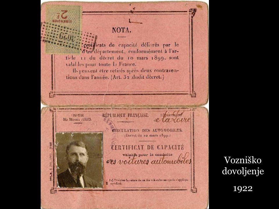 Vozniško dovoljenje 1922