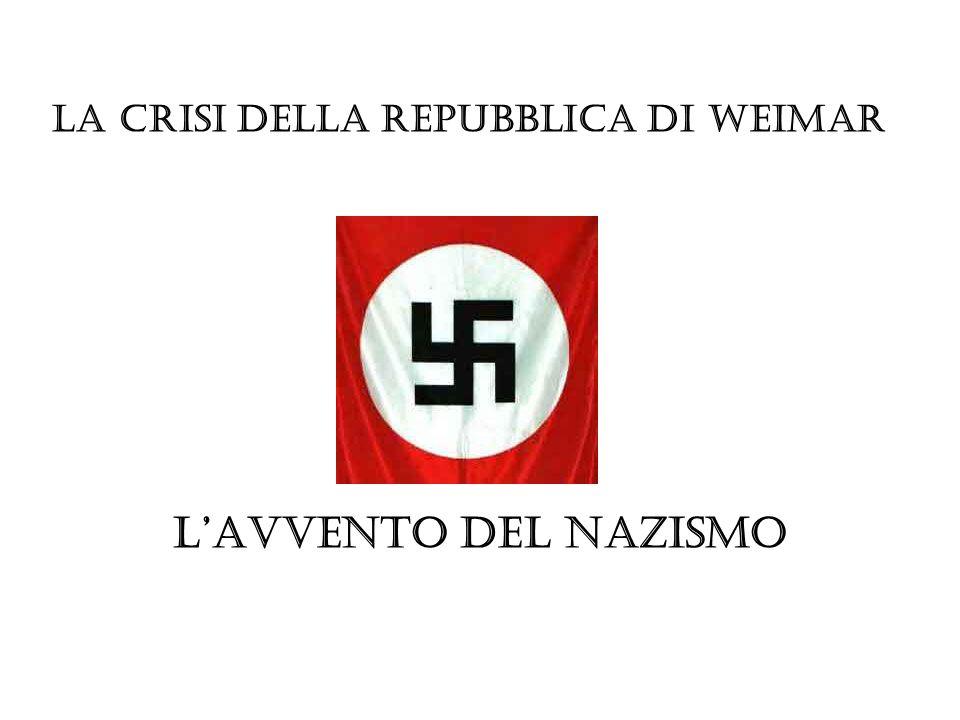 La crisi della Repubblica di Weimar L'avvento del nazismo
