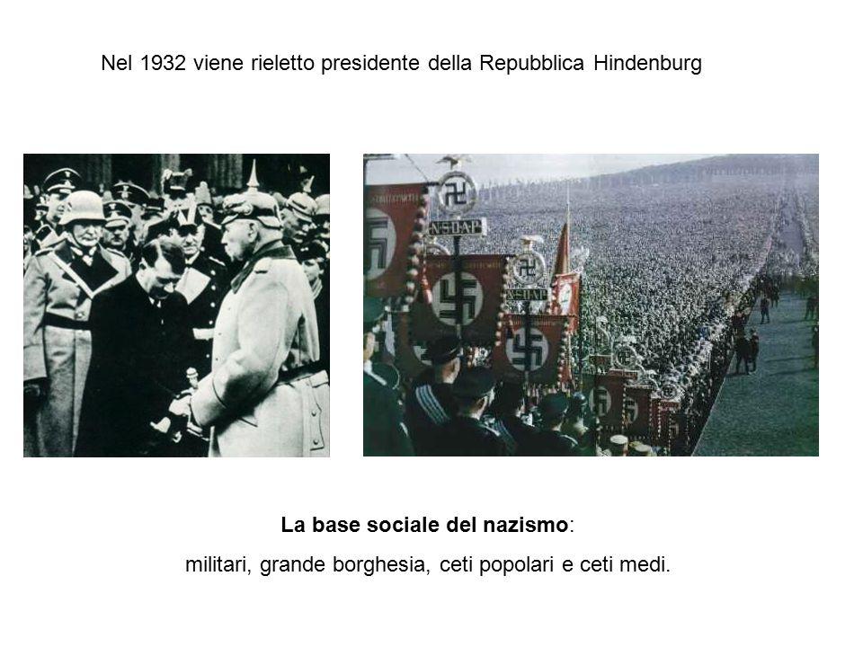 Nel 1932 viene rieletto presidente della Repubblica Hindenburg La base sociale del nazismo: militari, grande borghesia, ceti popolari e ceti medi.