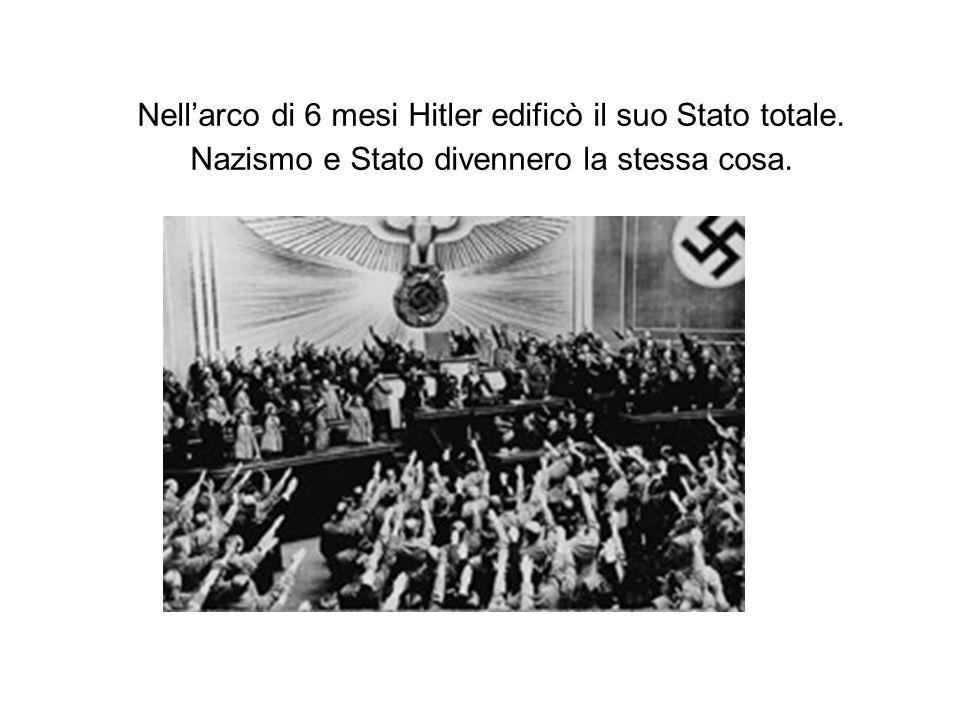 Nell'arco di 6 mesi Hitler edificò il suo Stato totale. Nazismo e Stato divennero la stessa cosa.