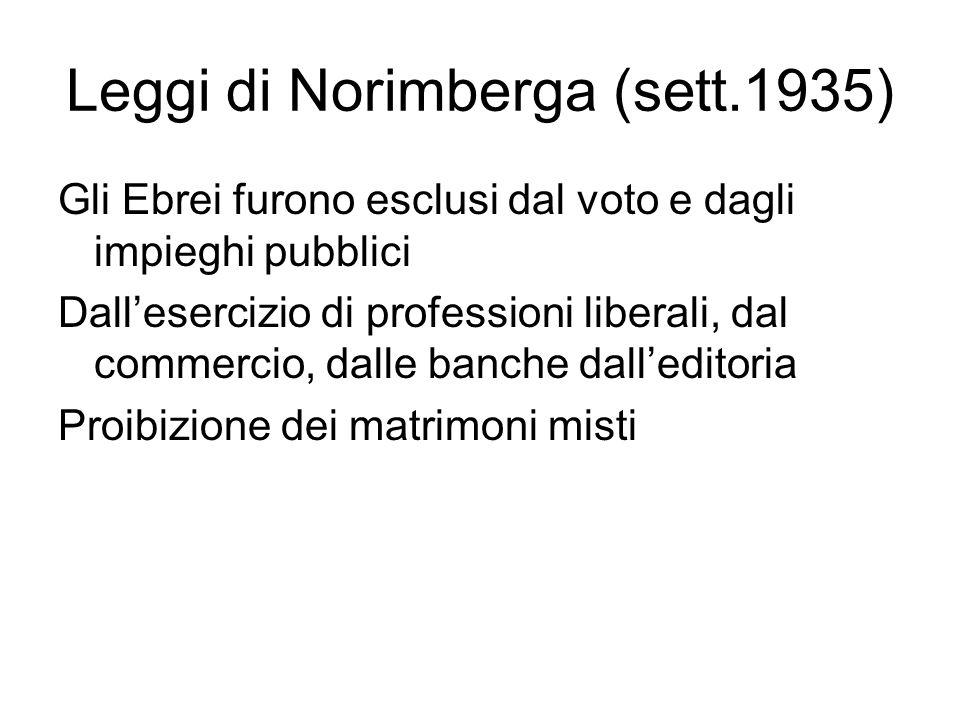Leggi di Norimberga (sett.1935) Gli Ebrei furono esclusi dal voto e dagli impieghi pubblici Dall'esercizio di professioni liberali, dal commercio, dalle banche dall'editoria Proibizione dei matrimoni misti