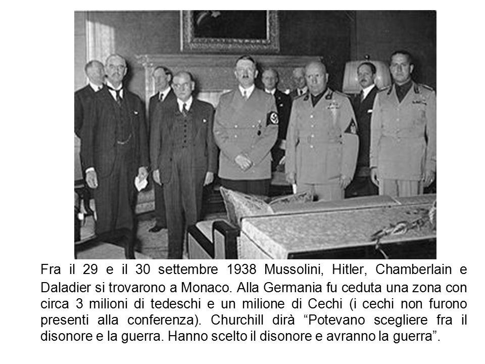 Fra il 29 e il 30 settembre 1938 Mussolini, Hitler, Chamberlain e Daladier si trovarono a Monaco.
