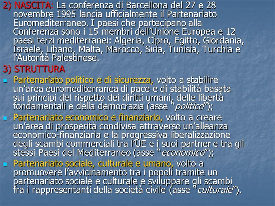LE DUE DIMENSIONI DEL PARTENARIATO Dimensione bilaterale: che riguarda le relazioni bilaterali fra l'UE e ciascuno dei PTM (che poggiano sugli Accordi Euromediterranei di Associazione) Dimensione bilaterale: che riguarda le relazioni bilaterali fra l'UE e ciascuno dei PTM (che poggiano sugli Accordi Euromediterranei di Associazione) Dimensione regionale: riguarda l'UE e i PTM nel loro complesso e si occupa di temi e problemi comuni ai partner mediterranei Dimensione regionale: riguarda l'UE e i PTM nel loro complesso e si occupa di temi e problemi comuni ai partner mediterranei