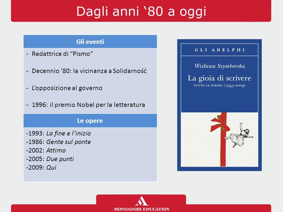 Dagli anni '80 a oggi Gli eventi -Redattrice di Pismo -Decennio '80: la vicinanza a Solidarność -L'opposizione al governo -1996: il premio Nobel per la letteratura Le opere -1993: La fine e l'inizio -1986: Gente sul ponte -2002: Attimo -2005: Due punti -2009: Qui