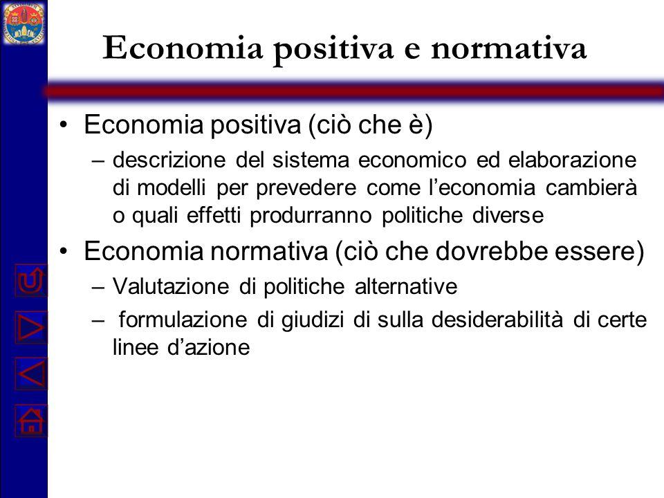 Economia positiva e normativa Economia positiva (ciò che è) –descrizione del sistema economico ed elaborazione di modelli per prevedere come l'economi