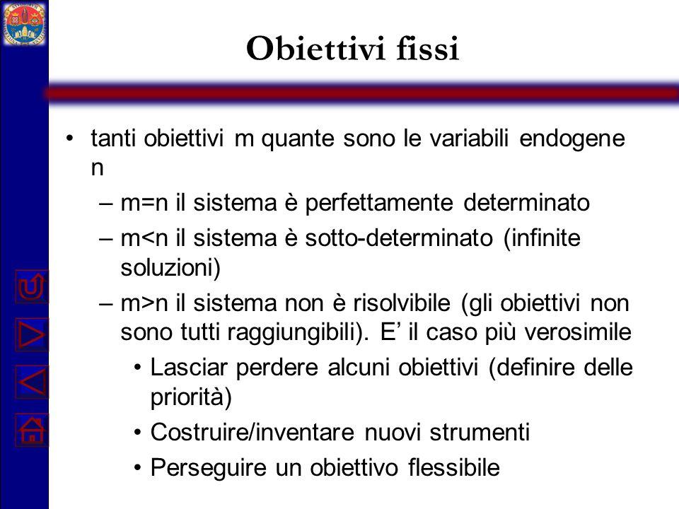 Obiettivi fissi tanti obiettivi m quante sono le variabili endogene n –m=n il sistema è perfettamente determinato –m<n il sistema è sotto-determinato